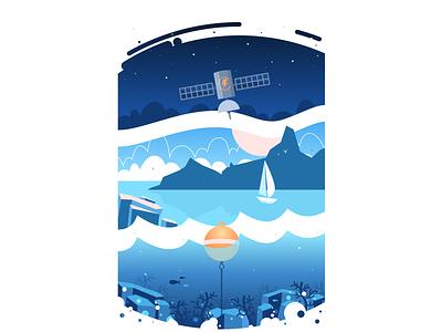 Sailing Illustrations sea boat satellite space sketch vector 2d marine app illustration