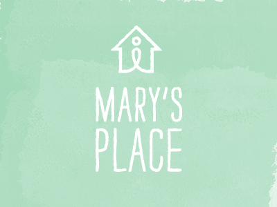 Logo for Mary's Place logo handdrawn strangelove home person marys place