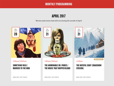 The New Bev Calendar web design quentin tarantino calendar ui card