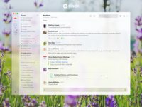 Slack Fluent Redesign acme wire app mail windows macos ios flowers blur redesign fluent slack
