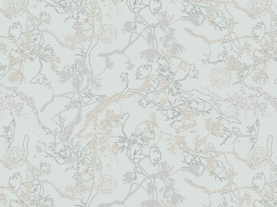 Silver Branches sakura ornament asia chinese culture coin branch silver illustration digital wallpaper print surface design photoshop pattern design textile print textile design textile design art fabric