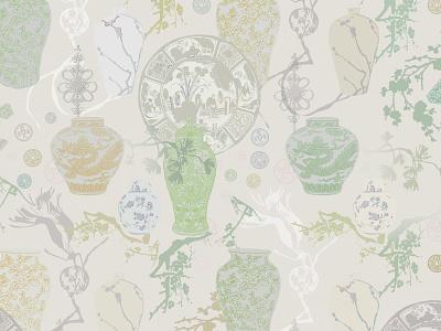 Chinese Tenderness (main pattern) surface design sakura vase branch coin asian pattern graphic artwork textile print art illustration design print textile fabric