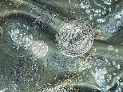 Korean Tiger gold pattern textile print pattern design surface design illustration flat timeline blue green artwork art textile graphic animal tiger