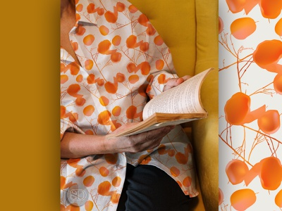 Pattern 02 | NECH-TO collection illustrator textile design visual design digital seamless orange flower floral fashion poster print fabric textile branding pattern design surface design design illustration art