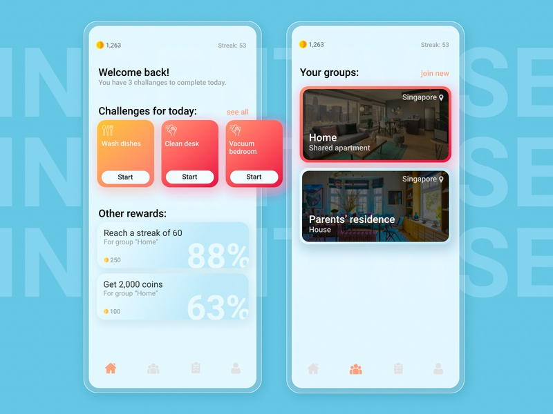 App to incentivise mundane chores product design userinterface ux ui figma materialdesign ios gradient design dashboard app android