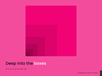Boxes with Fibonacci numbers figma illustration simple