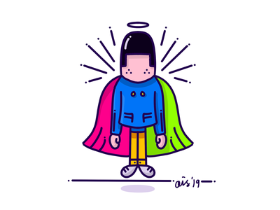 Flying Laid-Back Guy illustration procreate