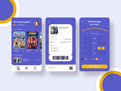 Movie Ticket Reservation vector ux ui minimal web illustration design app reservation ticket booking ticketing movie app