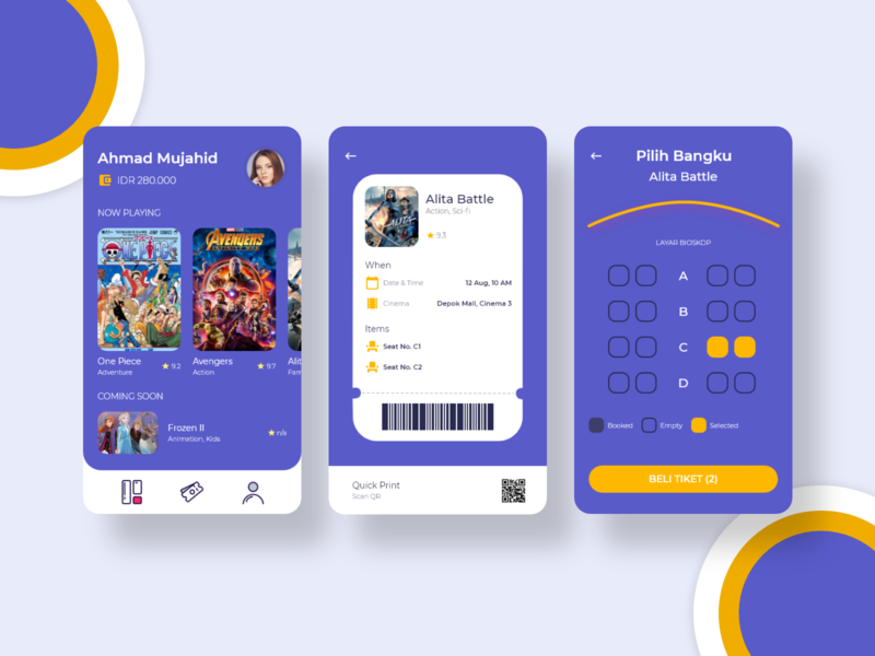 Movie Ticket Reservation vector ux ui minimal web illustration design app reservation ticket booking ticketing movie app