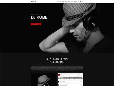 Kube - Musician, DJ, Band, Music Muse Template artist solo musician music muse templates indie festival event entertainment concert band adobe muse
