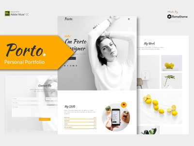 Porto - Personal Muse Template simple vcard resume portfolio personal no code muse theme muse template minimalist job seeker freelancer cv adobe muse