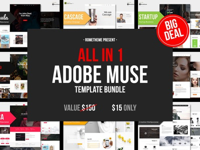 All in 1 - ADOBE MUSE BUNDLE popular free nocode design website web musetemplate musetheme adobemuse specialoffer flashsale bundle