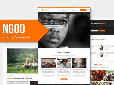 NGOO - Charity, Non-profit, PSD Template fundraising nonprofit photoshop volunteer donate charity ngo psd design web template psd