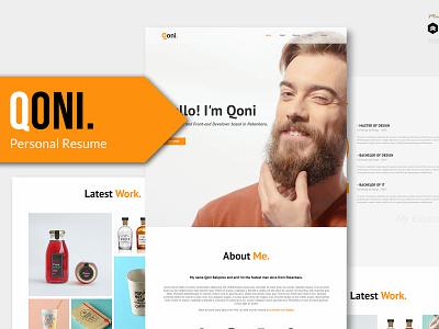 Qoni - Personal/Portfolio PSD template psd download elements envato design curriculum cv resume template cv portfolio personal template web psd