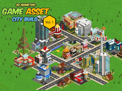 2D Isometric Game Asset - City Build Vol 1 tileset game assets web android ios metropolis megatown 2d citybuild icons isometric icons isometric