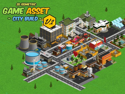 2D Isometric Game Asset - City Build Vol 2 assets construct web ios android game assets tileset metropolis megatown cartoon 2d citybuild isometric