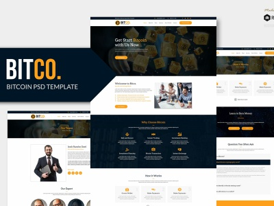 BITCO - Bitcoin and Cryptocurrency PSD Template constulting exchange crypto exchange coin blockchain trade psd ethereum crypto currency crypto bitcoin no code design web
