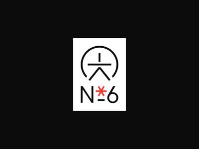 No. 6 identity logo icon typography