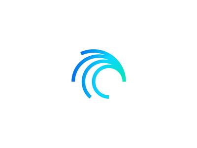 Broke mark symbol gradients wave logo identity