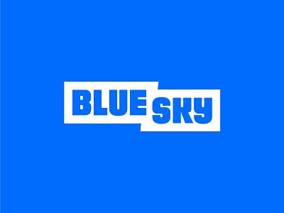 Bluesky sky blue trash logo identity