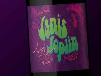 Janis Joplin Pinot Noir label design wine label design wine label wine typography packaging bottleshot label