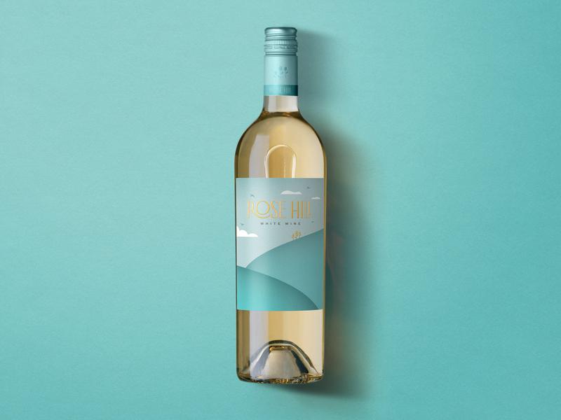 Rose Hill — White Wine illustration logo label design wine label design wine label wine typography bottleshot packaging label