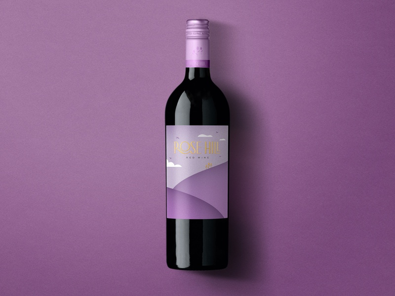 Rose Hill — Red Wine illustration logo label design wine label design wine label wine typography bottleshot packaging label