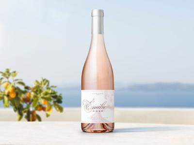 Émilie Rosé mockup rosé label bottleshot label design typography packaging wine wine label design wine label