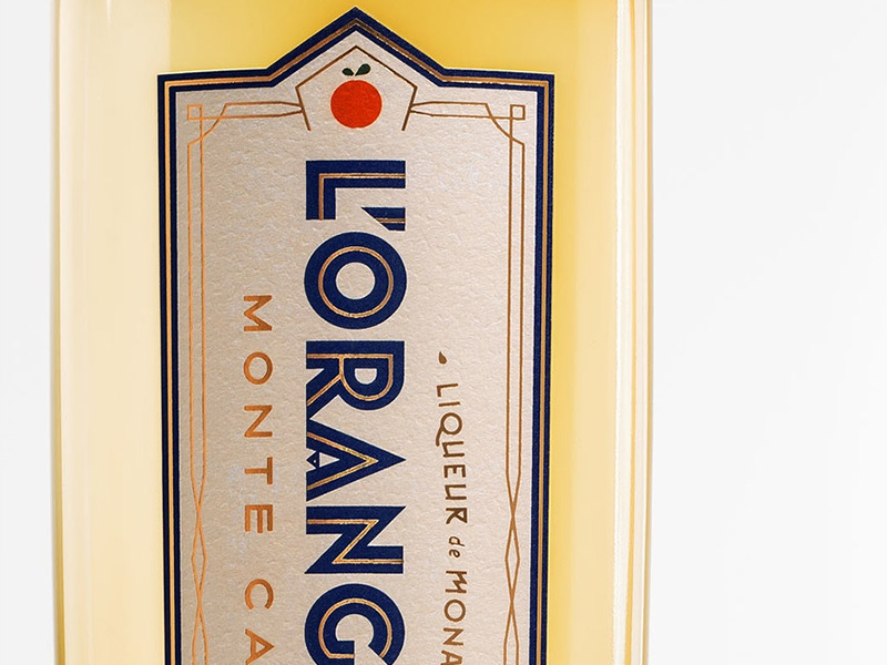 L'Orangerie Monte Carlo Liqueur spirits foil monaco label design typography art deco label bottleshot packaging liqueur monte carlo