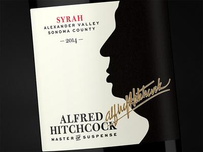 Alfred Hitchcock — Master of Suspense Syrah 2014 wine label tcm wine club typography packaging bottleshot label wine wine label design