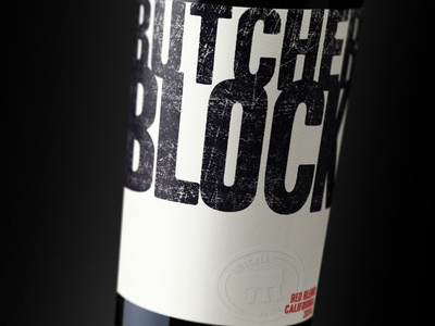 Butcher Block Red Blend wine label typography packaging bottleshot label wine wine label design