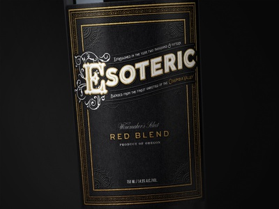 Esoteric Wine wine label typography packaging bottleshot label wine wine label design