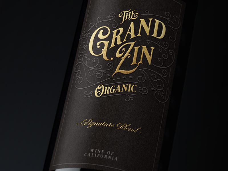 The Grand Zin Wine Label wine label typography packaging bottleshot label wine wine label design