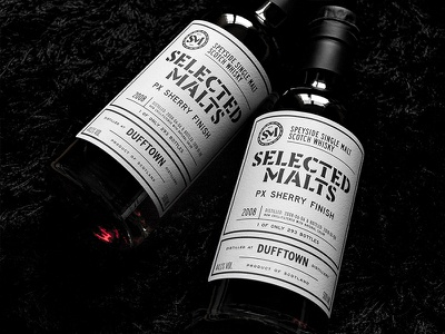 Selected Malts Dufftown 2008 branding typography label design scotch single malt whisky packaging design whisky