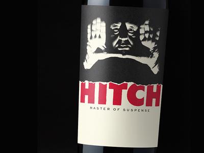 Hitch - Master of Suspense custom type wine label design wine label wine typography packaging label bottleshot