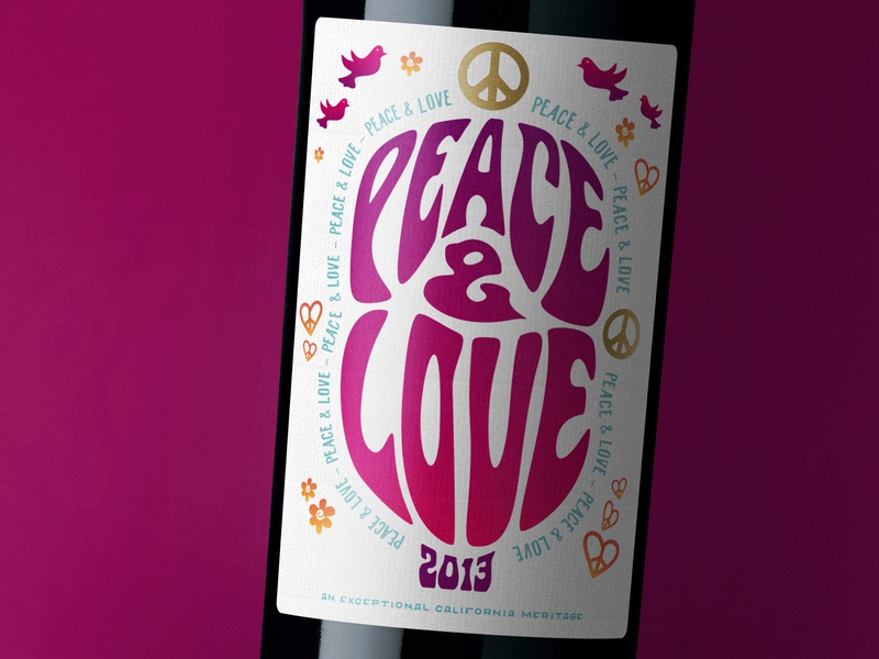 Peace Love label packaging 1960s packaging design wine branding wine label design wine label wine typography packaging label design label bottleshot