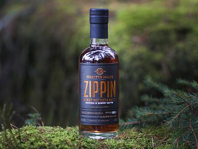 Zippin Blended Malt Scoth Whisky package design bottle branding scotch whisky label design typography bottleshot packaging label