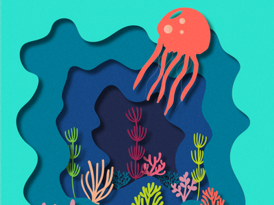 Under the sea living coral illustrator cc effect papercut sea jellyfish vector illustration