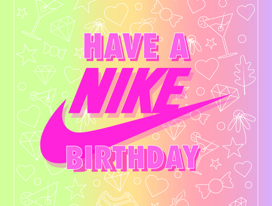 Birthday Card typography poster vectors birthday nike doodles illustrator
