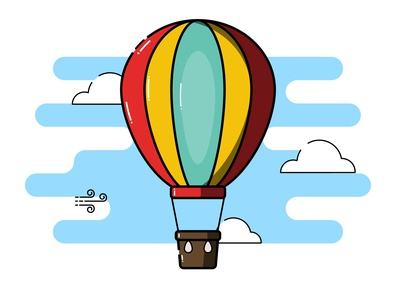 Hot air balloon wind clouds sky flatdesign colours illustrator cc vector illustration