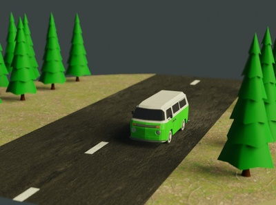 low poly combi blender vw van lowpoly3d