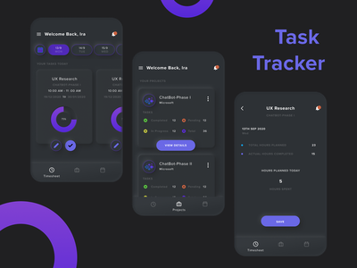App Concept- Project Task Management dark dark ui neumorphism ui tracker task project management ui design app