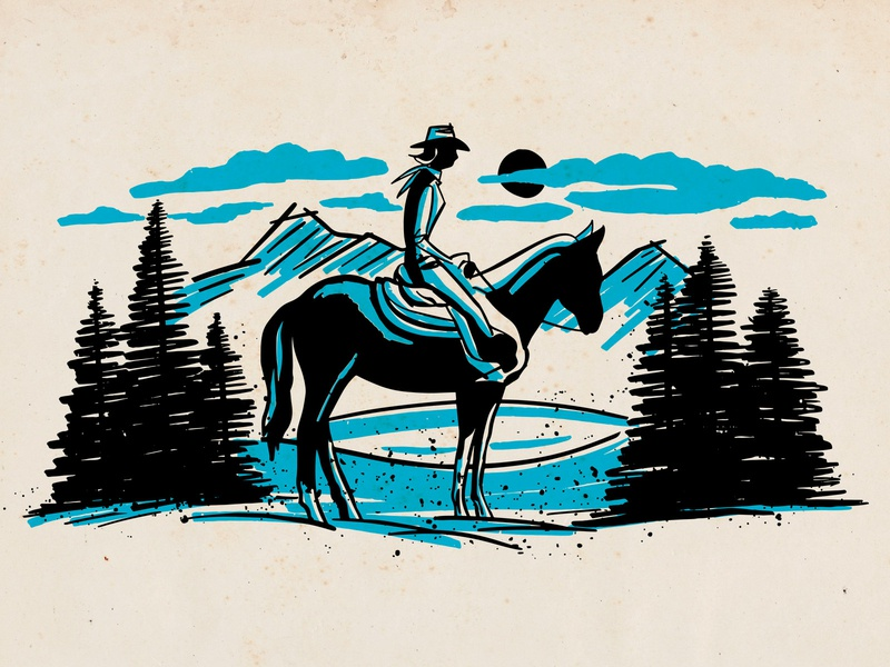 Wilderness Spot Art - Cowgirl cowgirl texas western illustration spot art