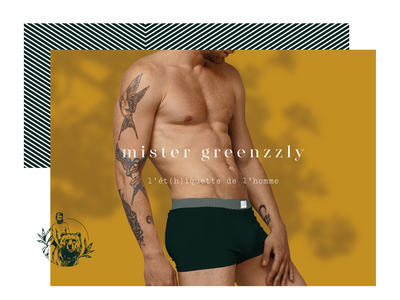 Branding - Mister Greenzzly brand graphic underwear lingerie fashion grizzly bear design illustration branding logo