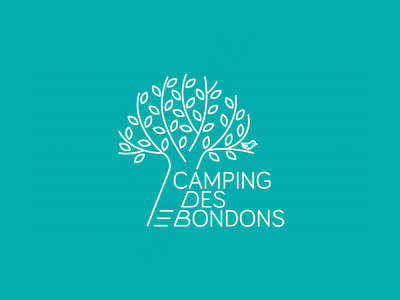 Construction logo - Camping des Bondons landscape bird tree nature land forest camp travel camping graphic design design graphic brand identity brand design branding brand logo design logotype logo