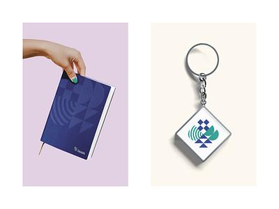 Goodies - Inam keyring notebook advice inheritance corporate graphic design brand design illustration brand identity logotype logo graphic design branding brand