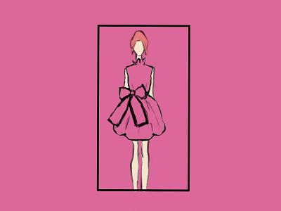 Hot Pink Dress flat illustration design