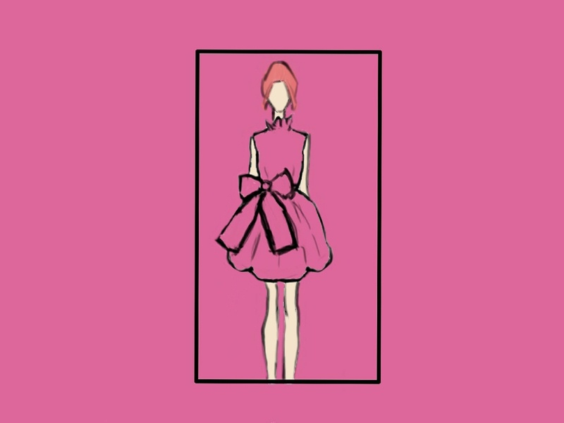 Hot Pink Dress flat illustration design