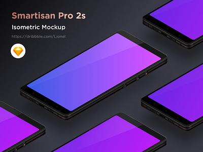 Smartisan Pro 2s Mockup isometric smartisan pro 2s mockup 2.5d design illustration sketch