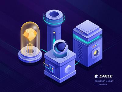 Eagle Illustration Design2 isometric 2.5d illustration design sketch